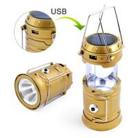 Фонарь кемпинг 5800T-1W+6LED, солнечная батарея, ЗУ 220V, встроенный аккумулятор, power bank