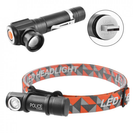 Фонарь налобный Police W01-T6, ЗУ USB, встроенный аккумулятор, магнит, Box