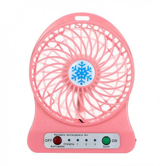 Настольный мини вентилятор Snowflake fan B (Розовый)