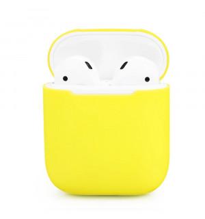 Силиконовый чехол Case Ultra Slim для наушников Airpods/Аналогов (Bright Yellow)