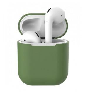 Силиконовый чехол Case Ultra Slim для наушников Airpods/Аналогов (Olive)