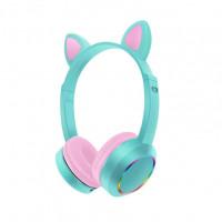 Беспроводные детские наушники Cat Ears K24 LED (Голубой)