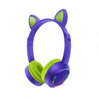 Беспроводные детские наушники Cat Ears K24 LED (Зеленый)