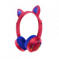Беспроводные детские наушники Cat Ears K24 LED (Красный)