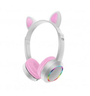Беспроводные детские наушники Cat Ears K24 LED (Белый)