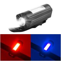 Фонарь велосипедный 303C-XPE+red/blue мигалка, ЗУ micro USB, встроенный аккумулятор