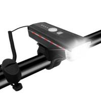 Велосипедный звонок + велофара HJ-062 300Lumen, ЗУ micro USB, встр. аккум., выносная кнопка, датчик