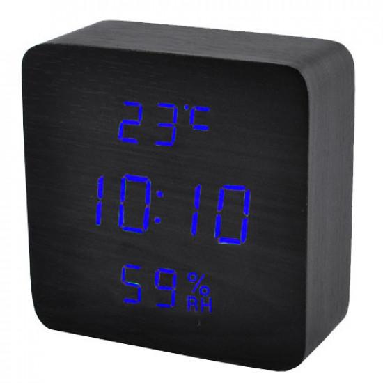Часы сетевые VST-872S-5, синие, температура, влажность, USB