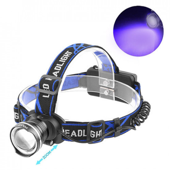 Ультрафиолетовый фонарь на лоб XQ-24-UV365 nm, ЗУ 220V/12V, 2x18650, ultra strong