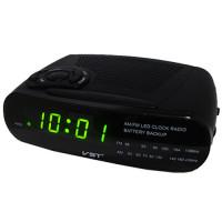 Часы сетевые VST-906-2 зеленые, радио FM, 220V