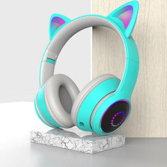 Беспроводные детские наушники Cat Ears K26 LED (Голубой)