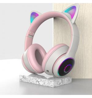 Беспроводные детские наушники Cat Ears K26 LED (Белый)