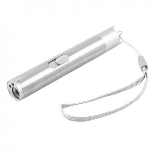 Фонарь брелок 923-Ultra-glow, UV, линза, лазер, встроенный аккумулятор, ЗУ USB, ремешок на руку