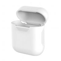 Силиконовый чехол для наушников Case Airpods/Аналогов (Белый)