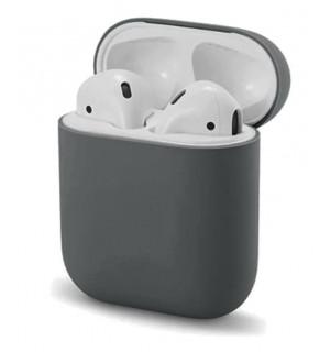Силиконовый чехол Case Ultra Slim для наушников Airpods/Аналогов (Dark Grey)