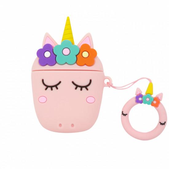 Силиконовый чехол для наушников Case AirPods Emoji (Unicorn Розовый)